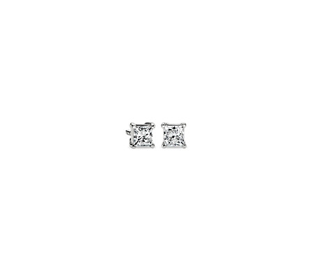 ct earrings white tw gold stud in princess cut diamond