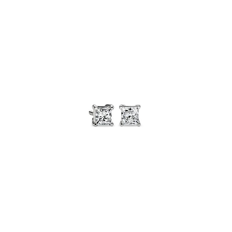 Princess-Cut Diamond Stud Earrings in 14k White Gold (1/2 ct. tw.