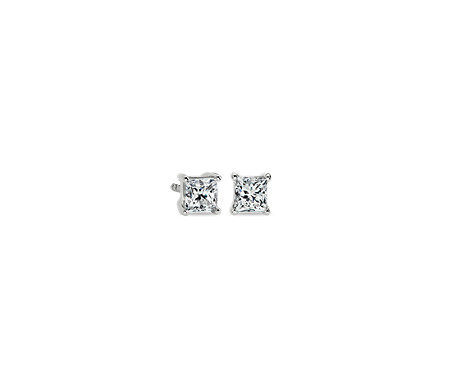 Princess Cut Diamond Stud Earrings In 14k White Gold 3 4 Ct