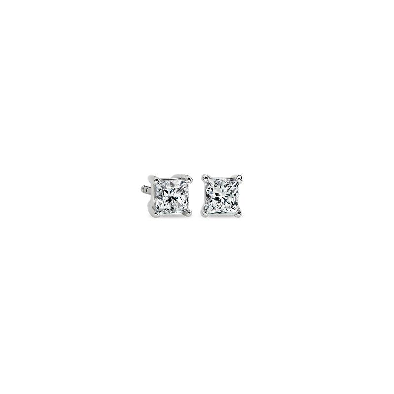 Princess-Cut Diamond Stud Earrings in 14k White Gold (3/4 ct. tw.