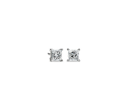 Princess-Cut Diamond Stud Earrings in 14k White Gold (1 ct. tw.)