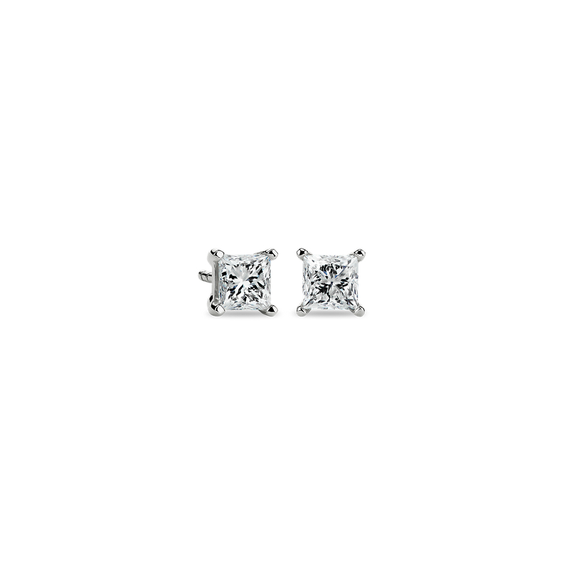 Princess-Cut Diamond Stud Earrings in 14k White Gold (1 ct. tw.)