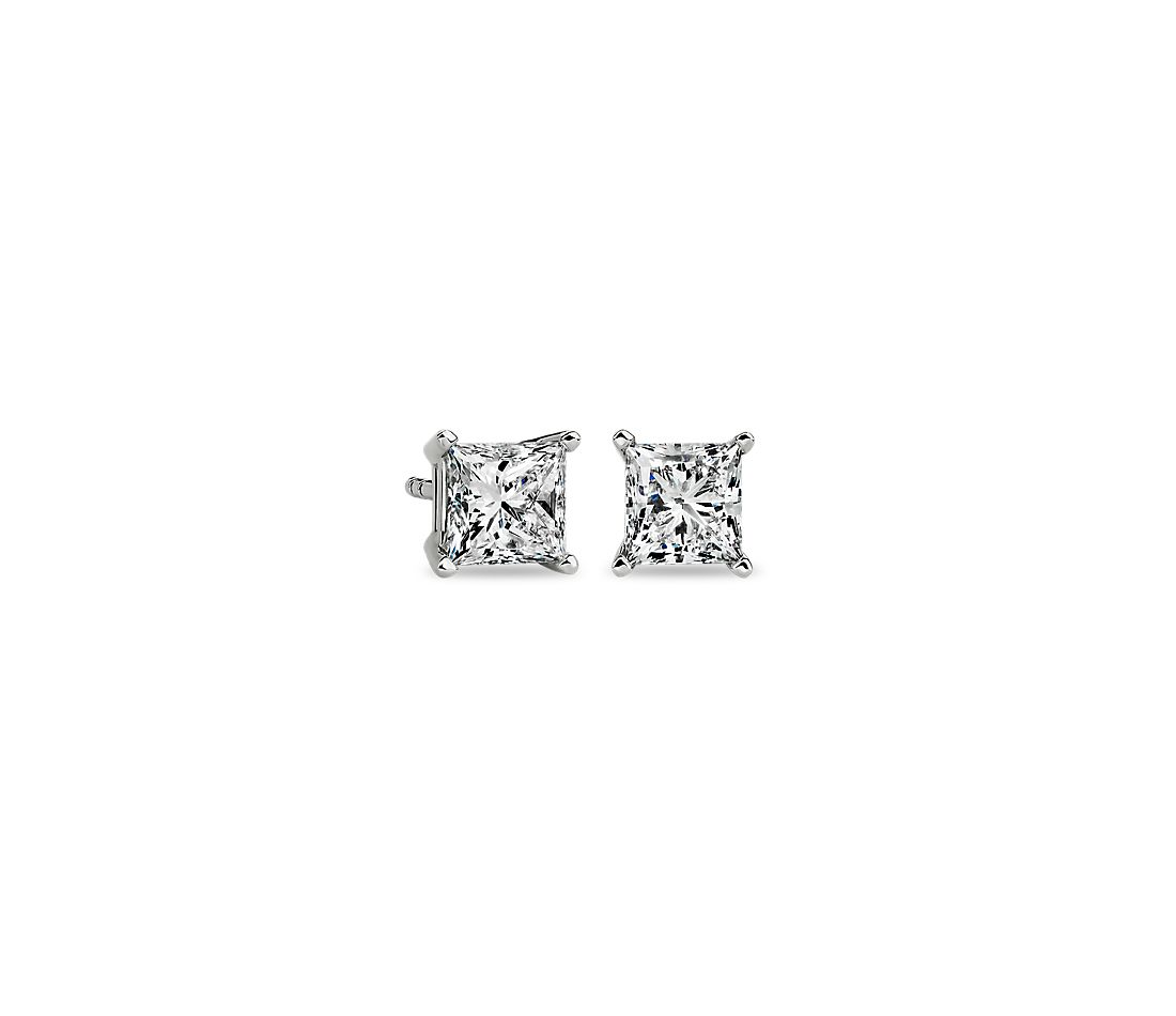 Princess Cut Diamond Stud Earrings In 14k White Gold 1 2 Ct Tw