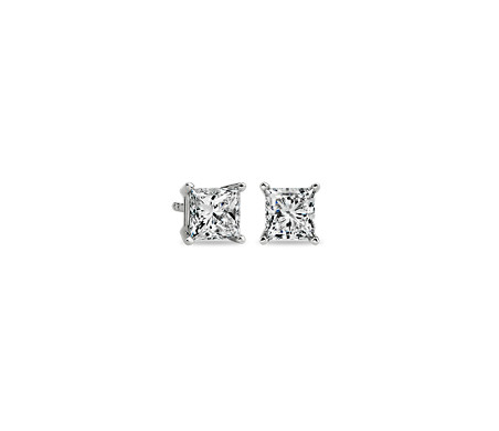 公主方形鑽石 14k 白金耳釘( 1 1/2 克拉總重量)