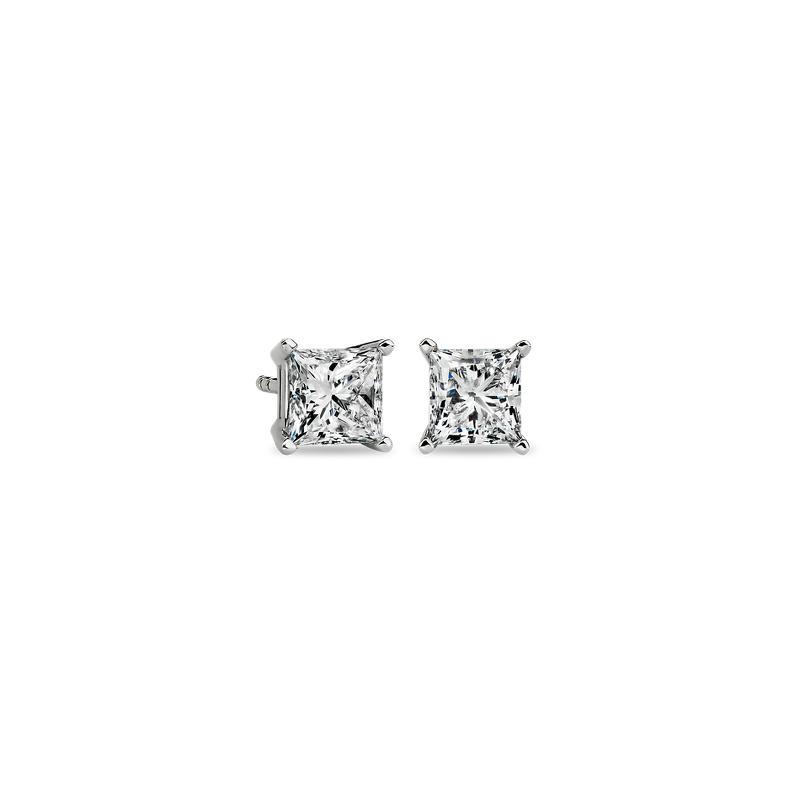 Princess-Cut Diamond Stud Earrings in 14k White Gold (1 1/2 ct. t