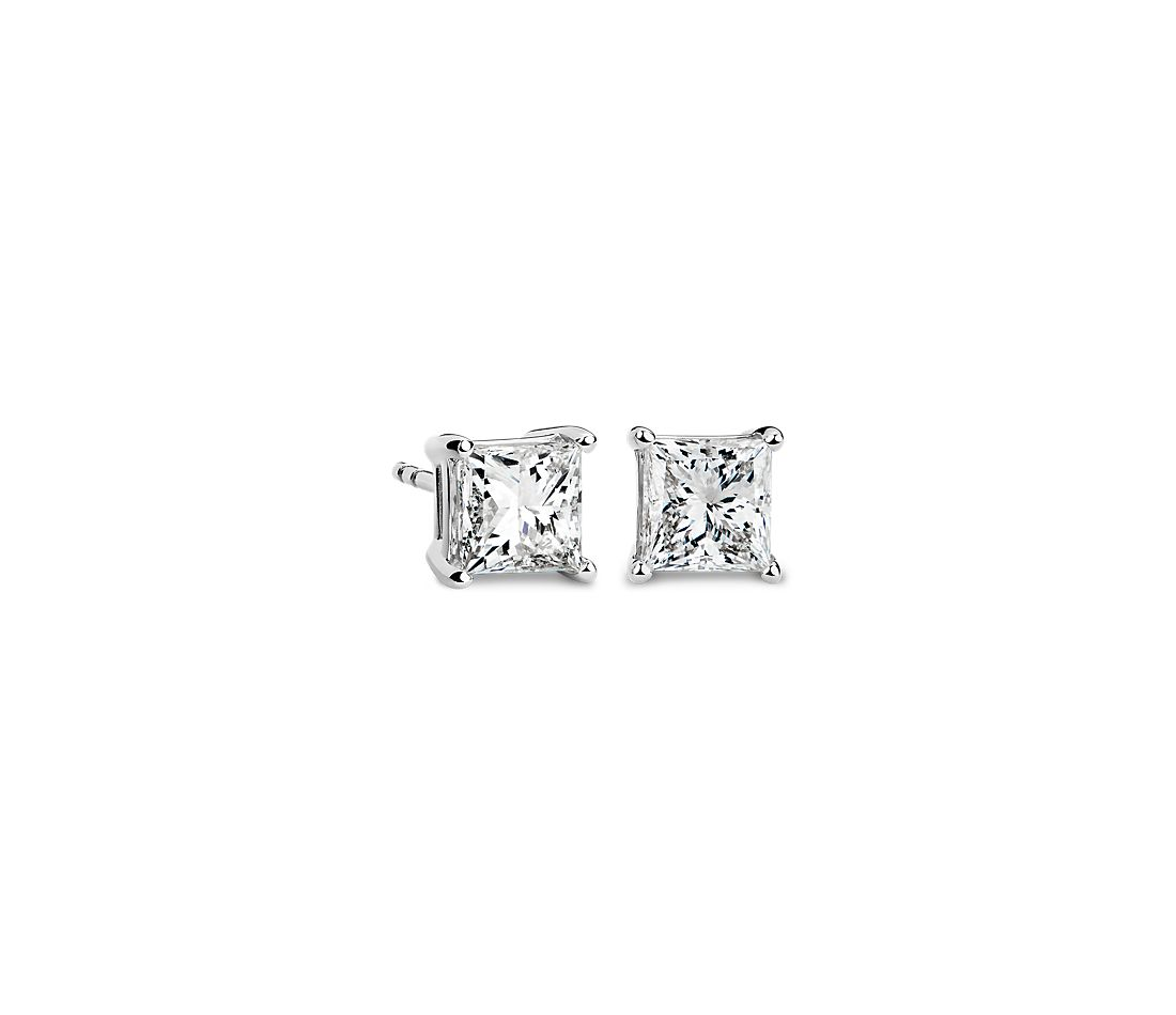 Princess-Cut Diamond Stud Earrings in 14k White Gold (2 ct. tw.)