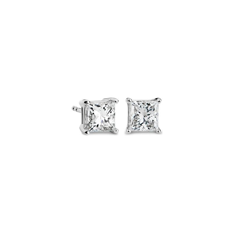 Princess-Cut Diamond Stud Earrings in 14k White Gold (2 ct. tw.)