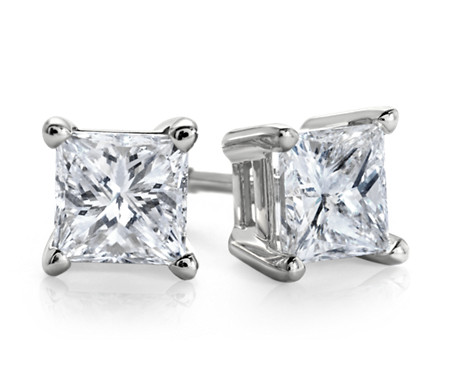 Essential Princess-Cut Diamond Stud Earrings in 14k White Gold (1/2 ct. tw.)