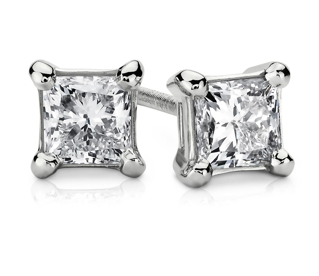 Essential Princess-Cut Diamond Stud Earrings in 14k White Gold (3/4 ct. tw.)