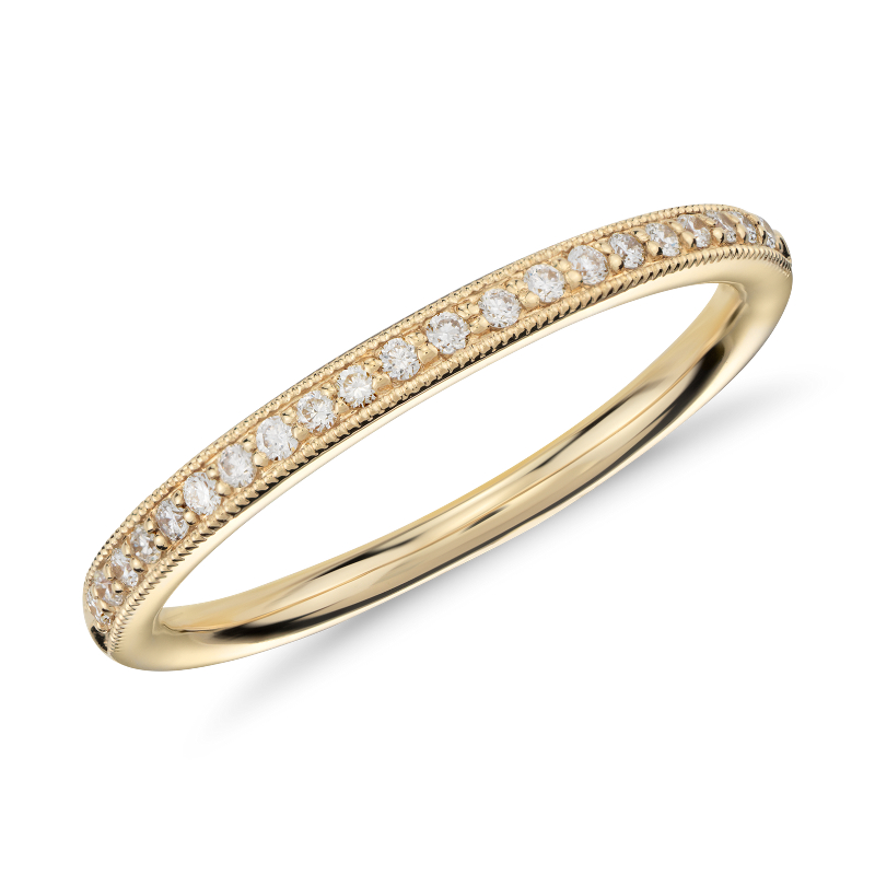 Riviera Pavé Heirloom Diamond Ring in 18k Yellow Gold (1/8