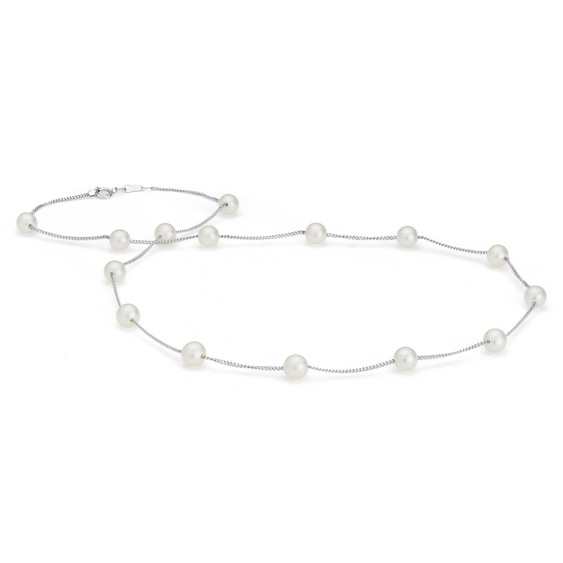 Freshwater Cultured Pearl Tin Cup Stationed Necklace in 14k White