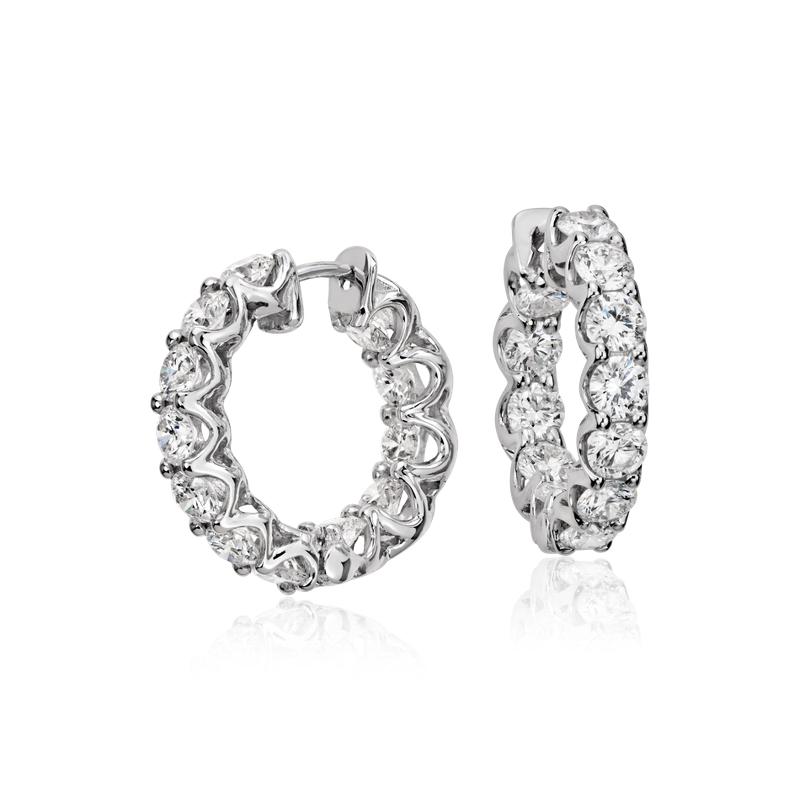Diamond Eternity Hoop Earrings in 18k White Gold (3 ct. tw.)
