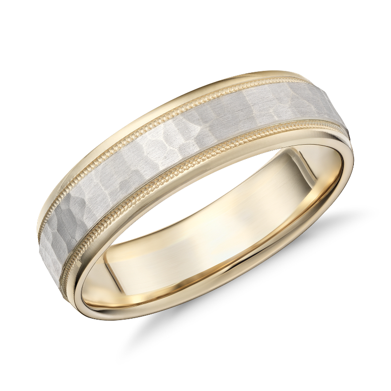 Hammered Milgrain Comfort Fit Wedding Ring in 14k Yellow and Whit