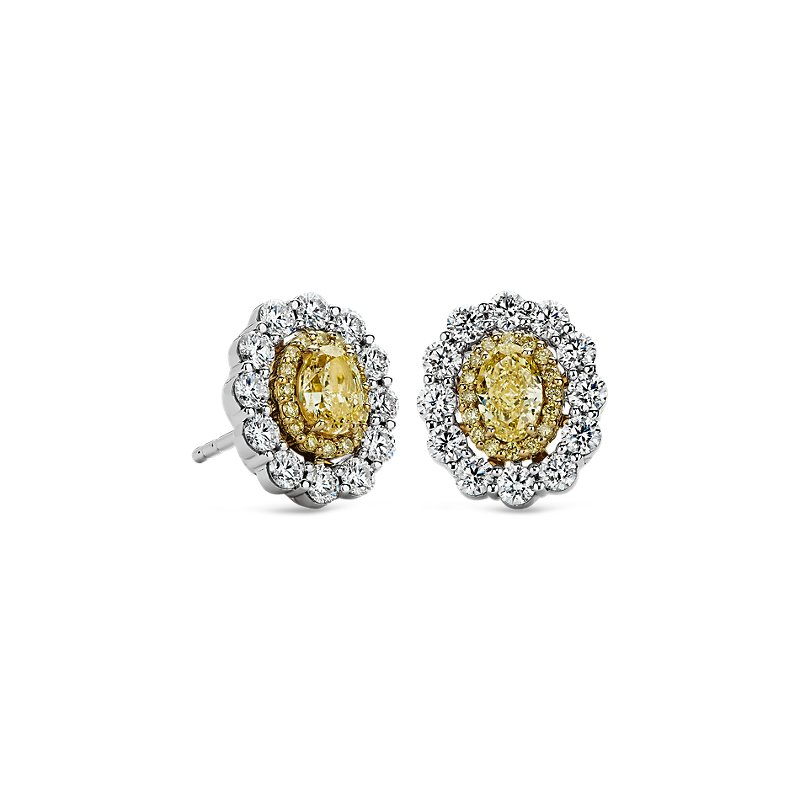 Double Halo Yellow and White Diamond Stud Earrings in 18k Yellow