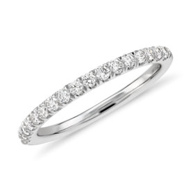 Bague en diamants sertis pavé en or blanc 18 carats - H / VS2 (1/3 carat, poids total)