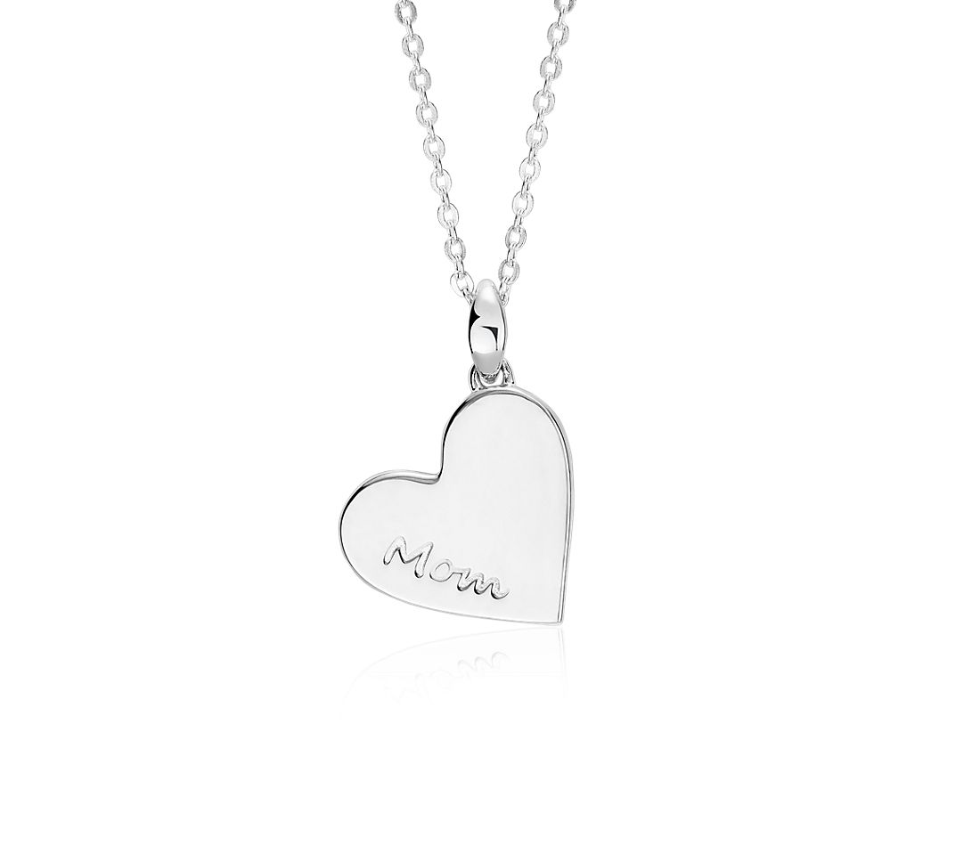 """Mom"" Heart Pendant in Sterling Silver"