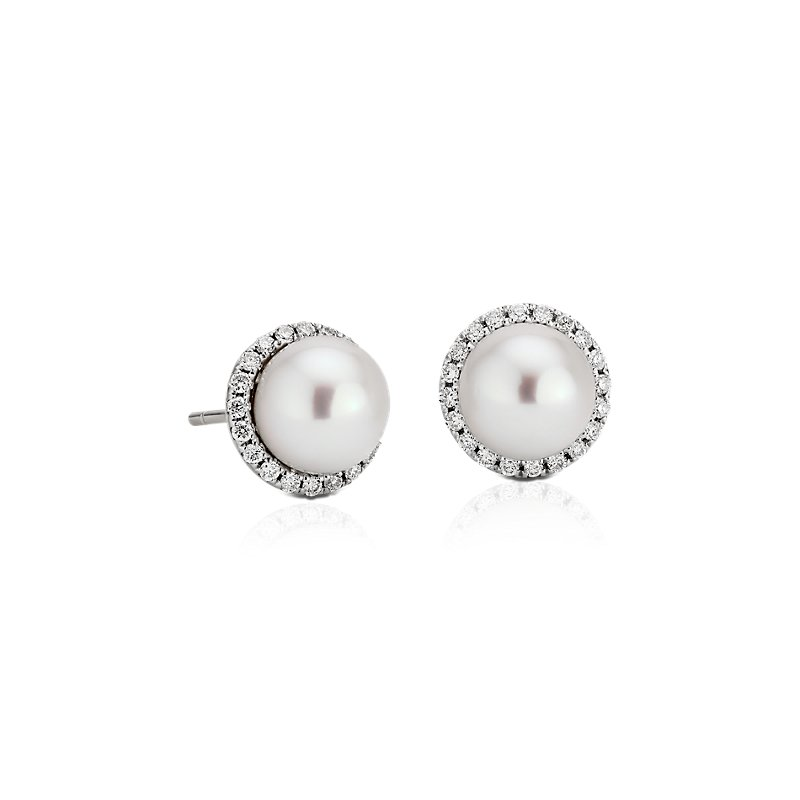 Freshwater Pearl Studs with Diamond Halos in 14k White Gold (0.2