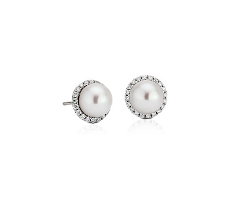 Puces d'oreilles perles d'eau douce et halos de diamants en or blanc 14carats (0,2carat, poids total)