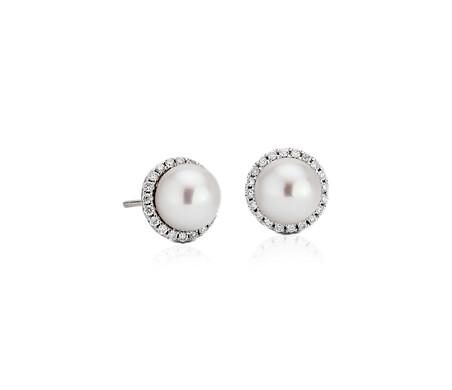 Aretes de perla de agua dulce con halos de diamantes en oro blanco de 14 k (0,2 qt. total)