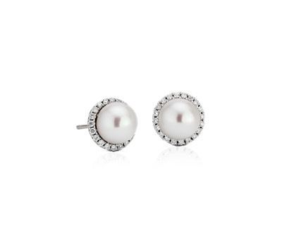 Freshwater Pearl Studs with Diamond Halos in 14k White Gold