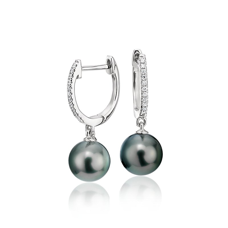 Tahitian Pearl Earrings with Diamond Hoops in 18k White Gold (8-9