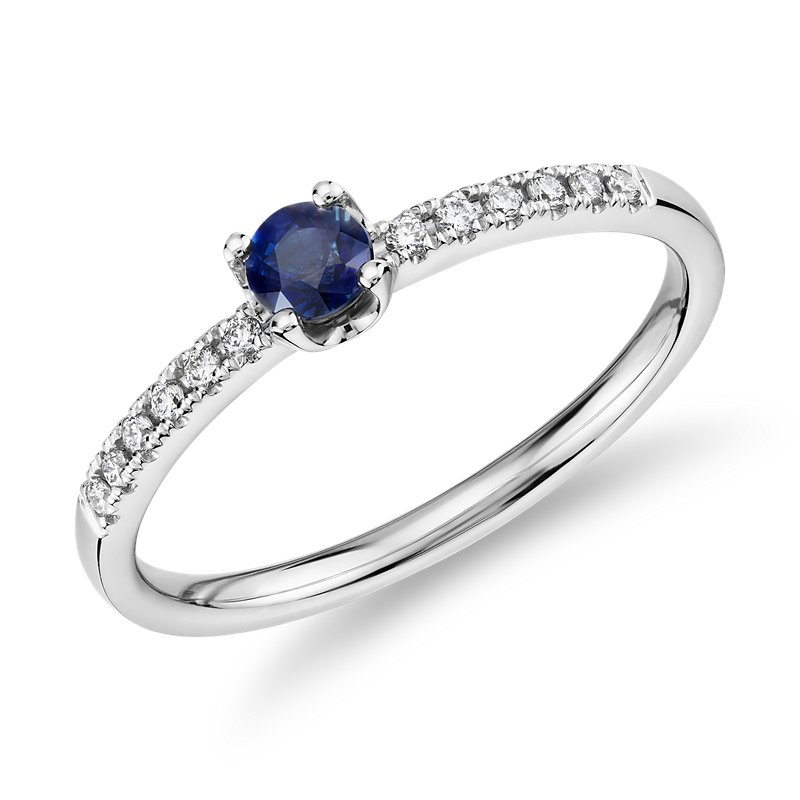 Petite Sapphire Stacking Diamond Ring in 14k White Gold (3.5mm)