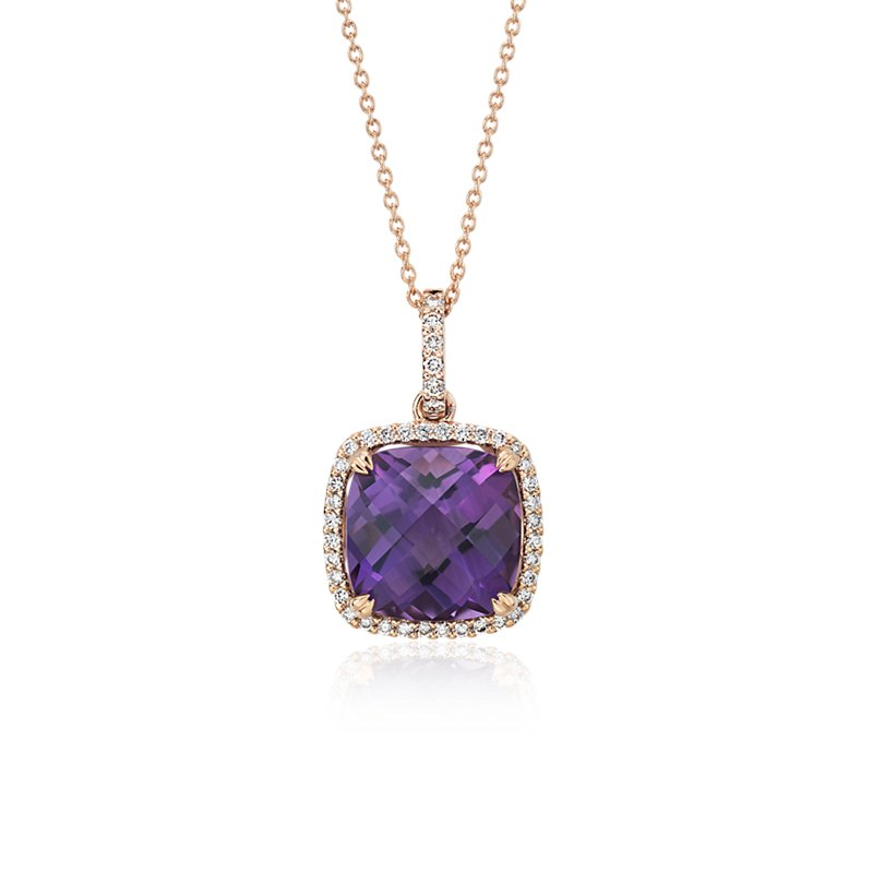 Cushion Cut Amethyst Pendant with Diamond Halo in 14k Rose Gold (