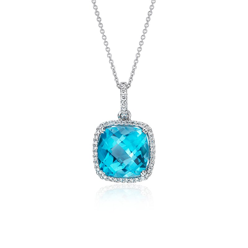 Cushion Cut Swiss Blue Topaz and Diamond Halo Pendant in 14k Whit