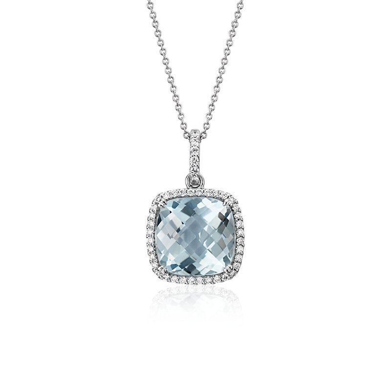Cushion Cut Aquamarine Pendant with Diamond Halo in 14k White Gol