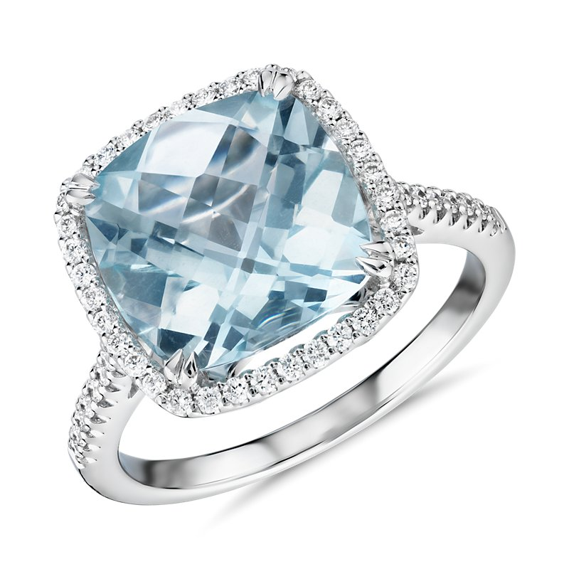 Cushion-Cut Aquamarine Diamond Halo Cocktail Ring in 14k White Go