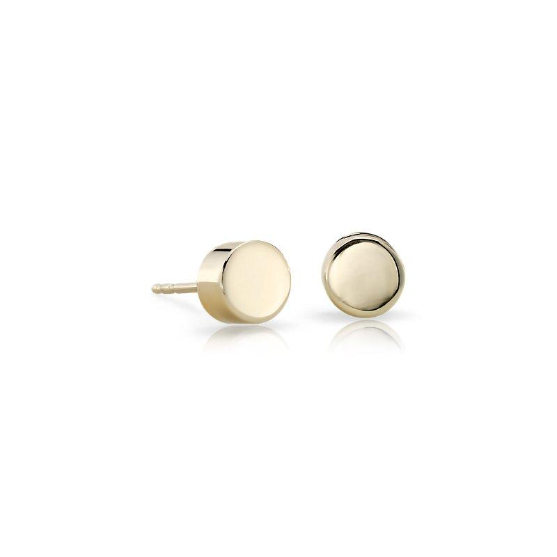 Flat Round Stud Earrings in 14k Yellow Gold