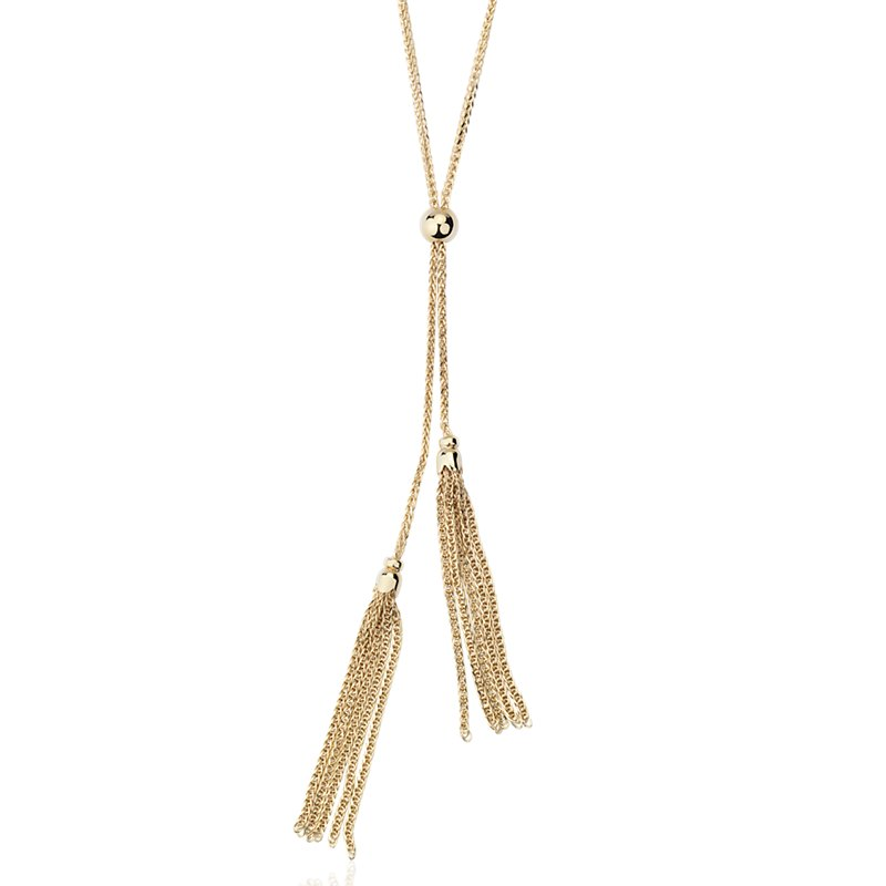 "Long Tassel Lariat Necklace in 14k Italian Yellow Gold (30"")"
