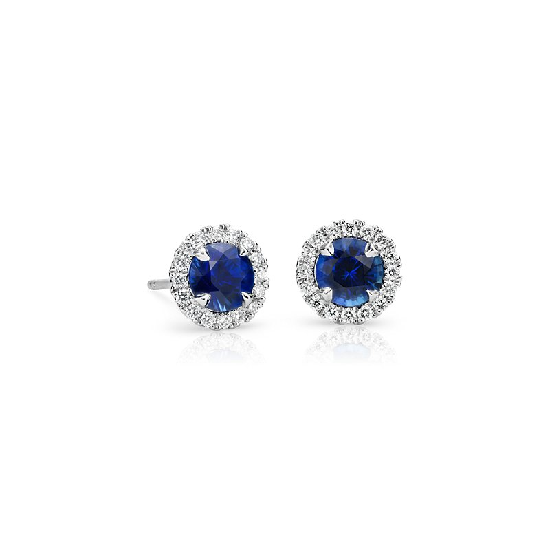 Sapphire and Micropavé Diamond Halo Stud Earrings in 18k W
