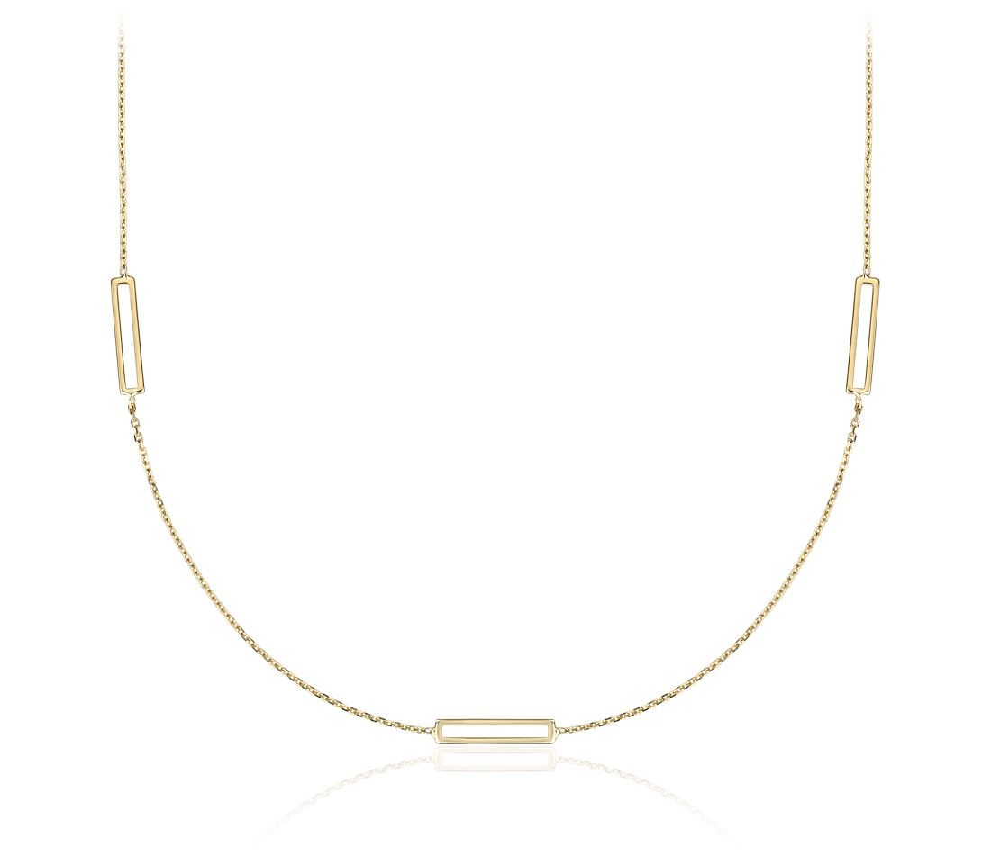Stationed Open Rectangle Necklace in 14k Yellow Gold