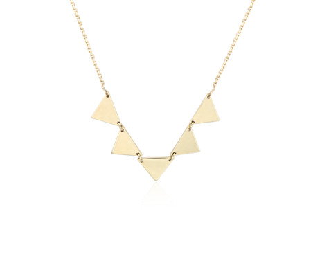Connected Triangle Necklace in 14k Yellow Gold