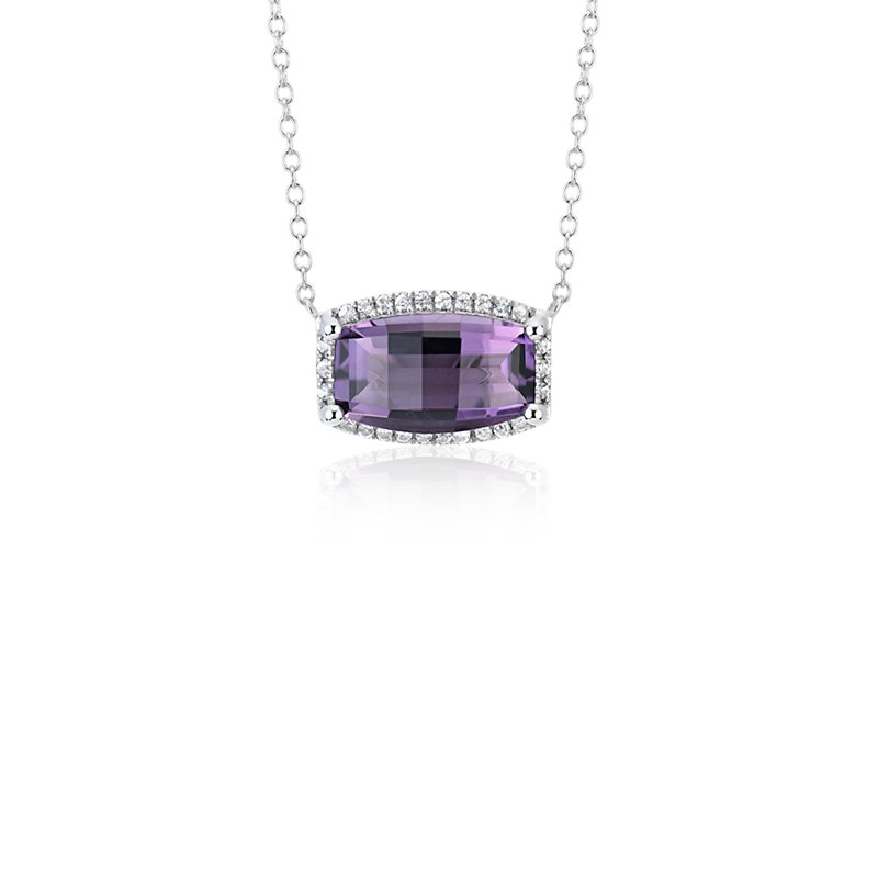 Barrel Amethyst White Topaz Halo Pendant in Sterling Silver (12x7