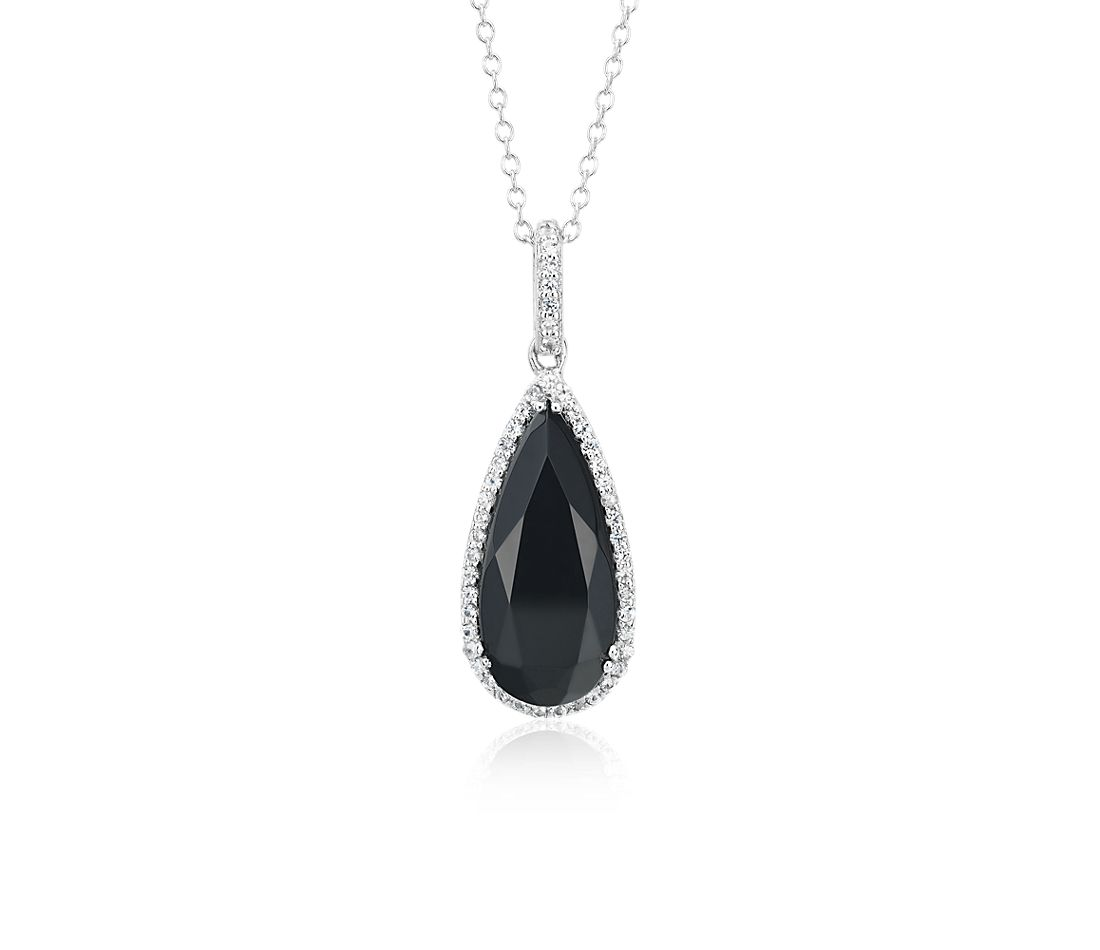 Black Onyx Pear Pendant with White Topaz Halo in Sterling Silver (18x8mm)