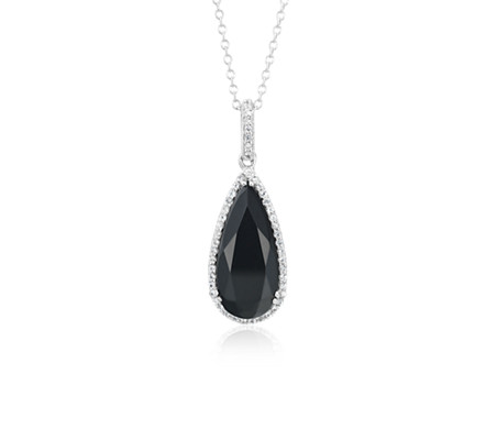 Blue Nile Black Onyx Cushion Pendant in Sterling Silver (8mm)