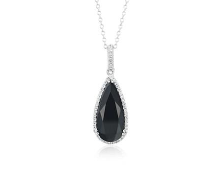 925 纯银黑色玛瑙石和白色托帕石光环梨形吊坠<br>(18x8毫米)
