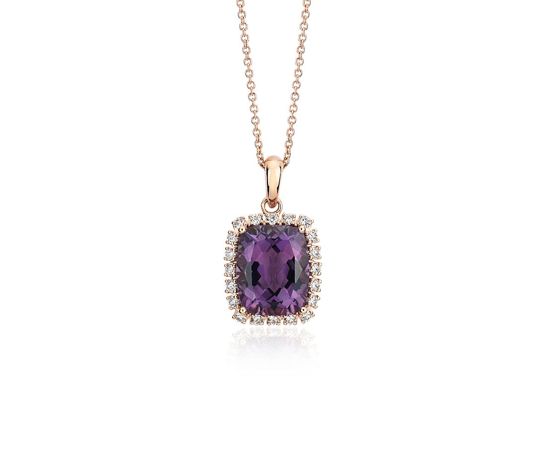 Cushion-Cut Amethyst and Diamond Halo Pendant in 14k Rose Gold (10x8mm)