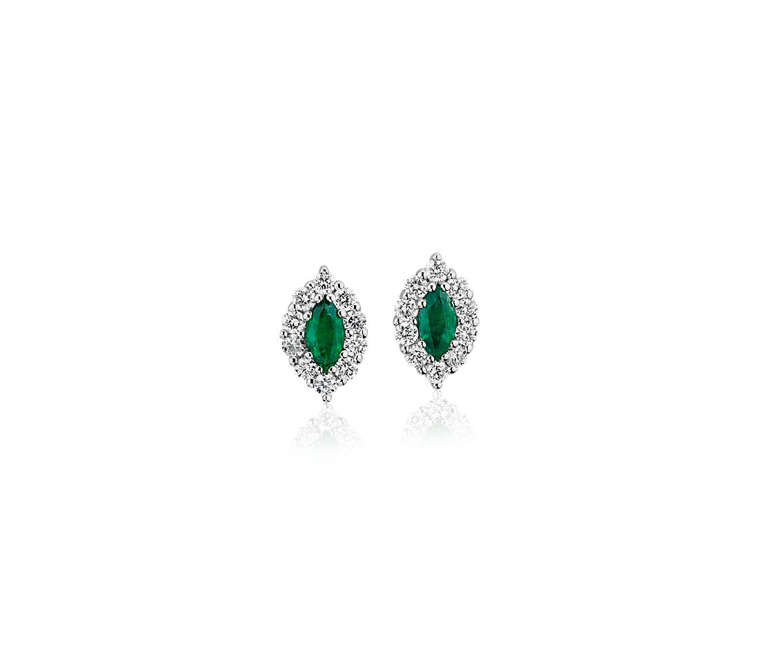 Marquise Emerald Stud Earring With Diamond Halo in 14K White Gold