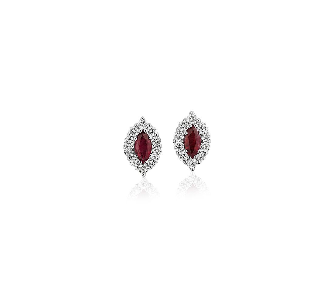 Marquise Ruby Stud Earring with Diamond Halo in 14k White Gold