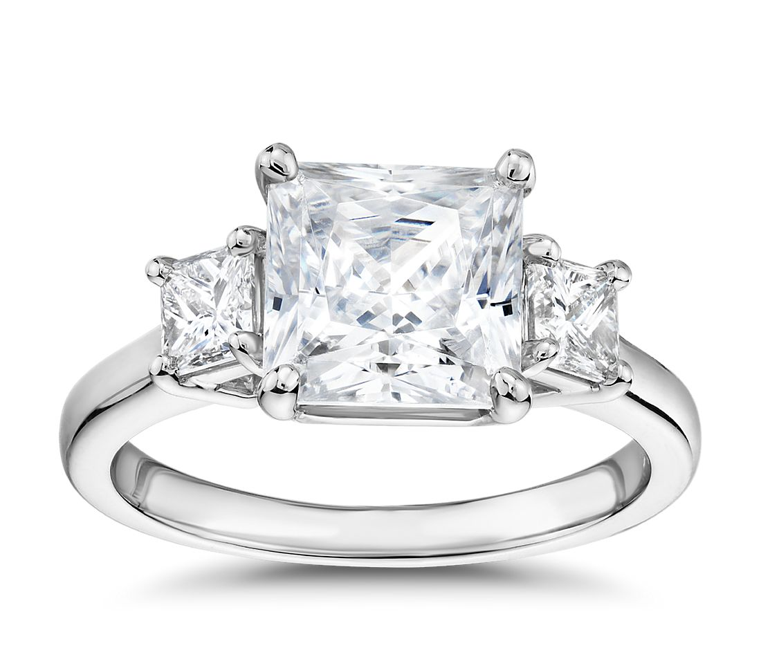 The Gallery Collection Princess-Cut Three-Stone Diamond Engagement Ring in Platinum