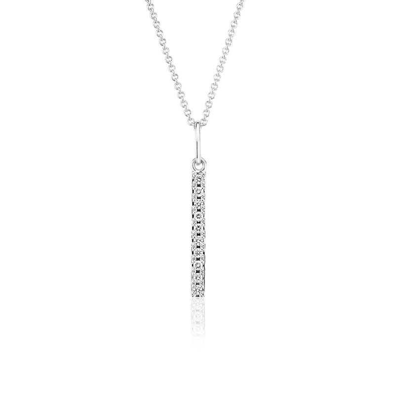 Mini Diamond Vertical Bar Necklace in 14k White Gold