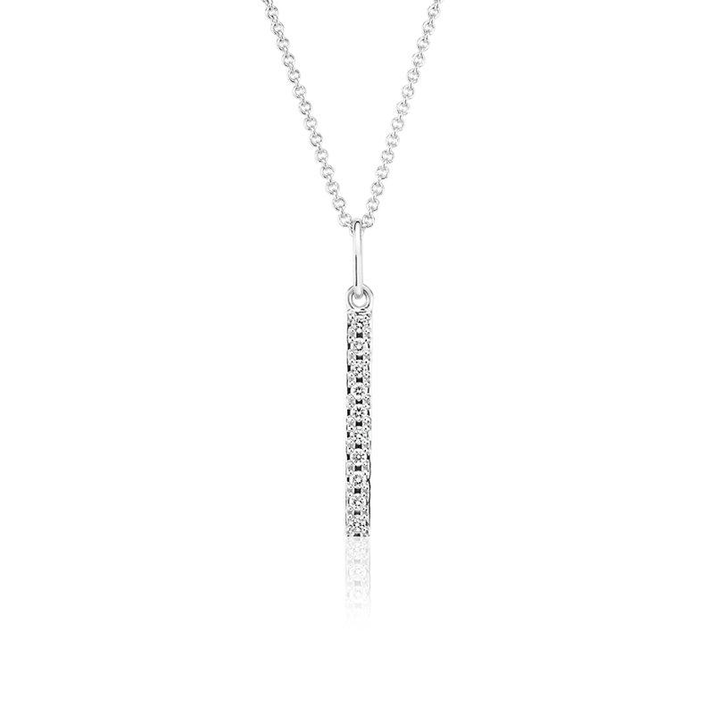 Mini Diamond Vertical Bar Necklace in 14k White Gold