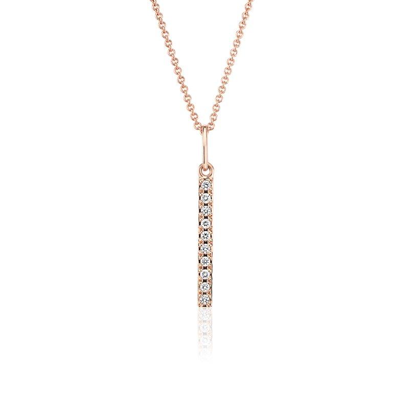Mini Diamond Vertical Bar Necklace in 14k Rose Gold
