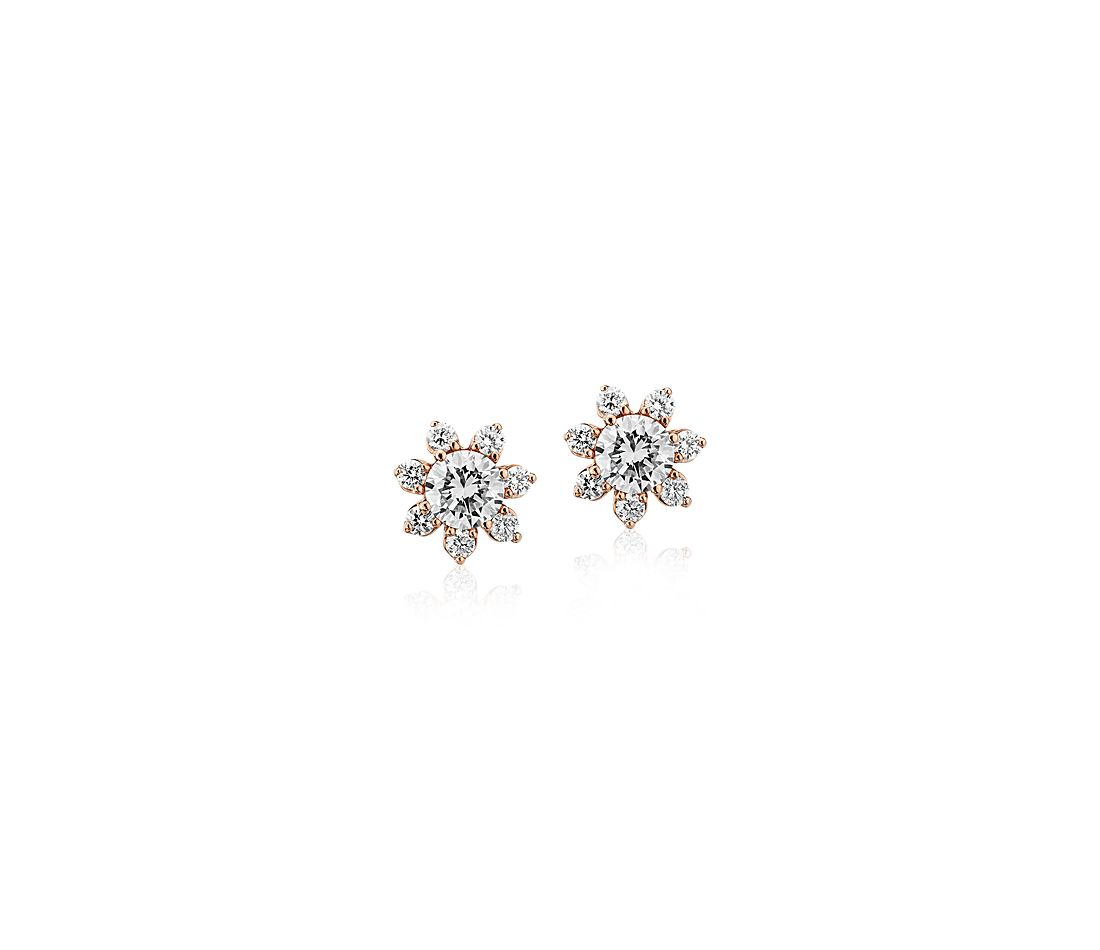 fc08a6f40 Diamond Floral Stud Earring in 14k Rose Gold (2/5 ct. tw.) | Blue Nile
