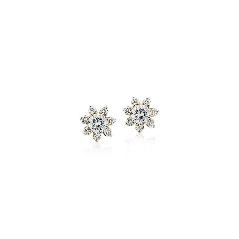 Diamond Floral Stud Earring in 14k Yellow Gold (3/8 ct. tw.)