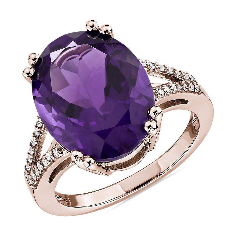 Oval Amethyst Statement Ring in 14k Rose Gold