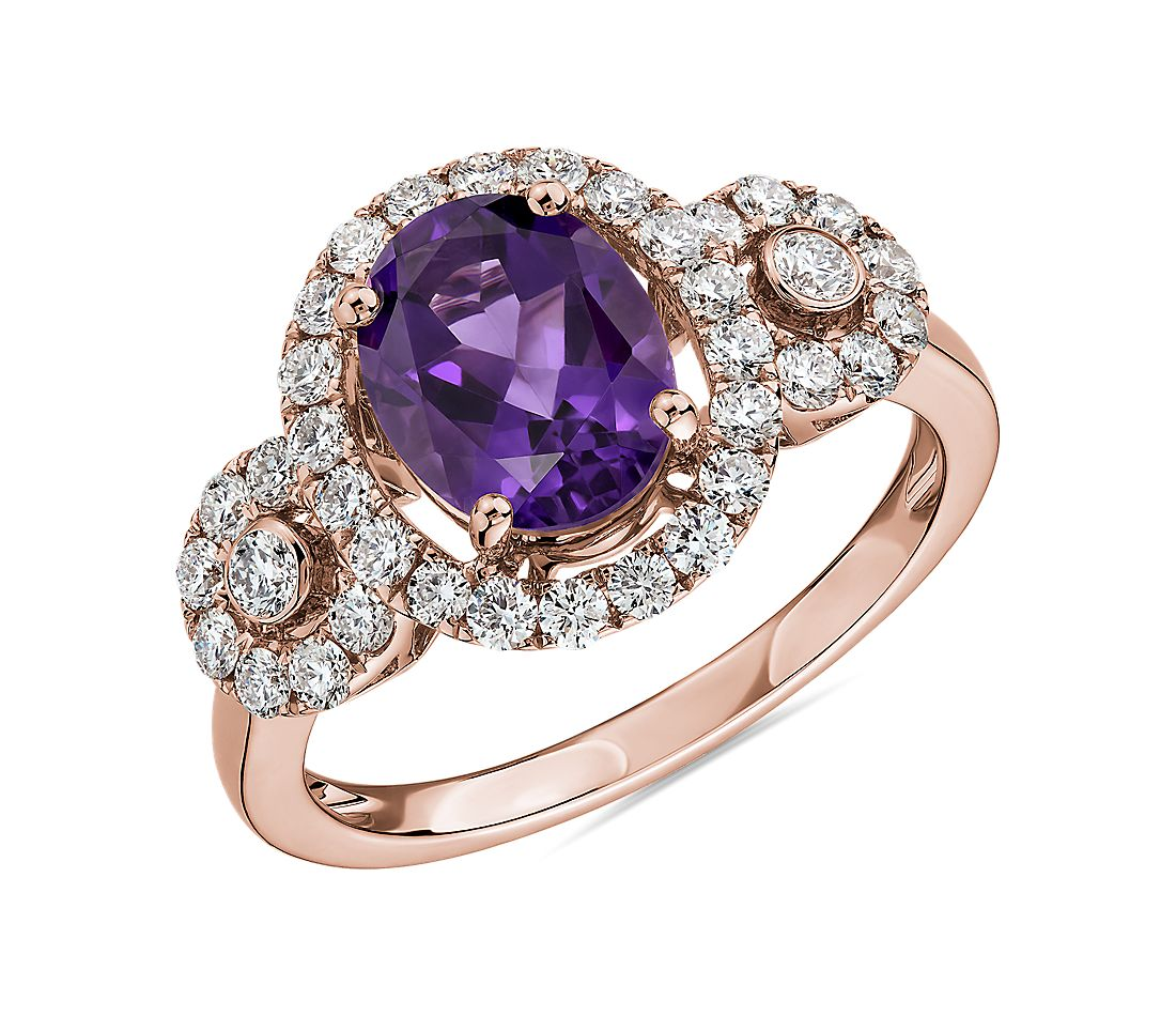 Oval Amethyst Ring with Diamonds in 14k Rose Gold